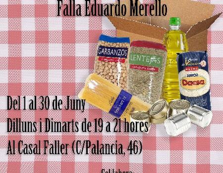 La Falla Eduardo Merello recoge 170 kilos de alimentos