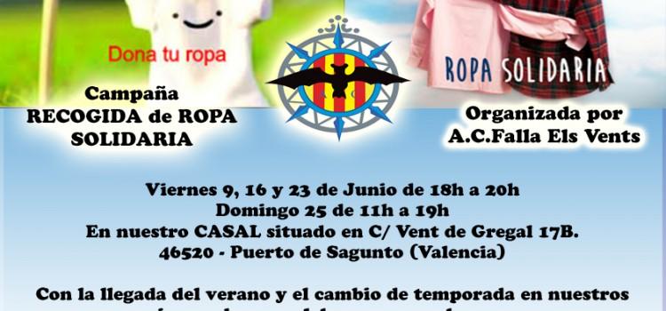 La A.C. Falla Els Vents organiza una campaña de RECOGIDA DE ROPA SOLIDARIA.